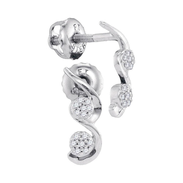 10K White Gold Round Diamond Cradled Cluster Screwback Earrings 1/12 Cttw - Gold Americas