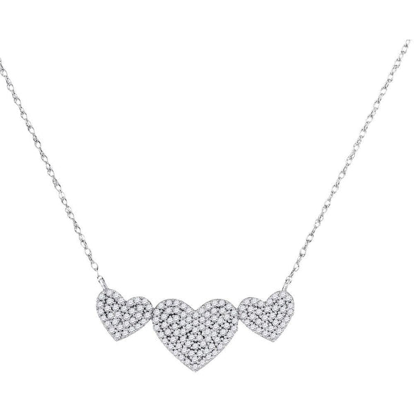 10K White Gold Womens Round Diamond Triple Heart Cluster Pendant Necklace 3/8 Cttw