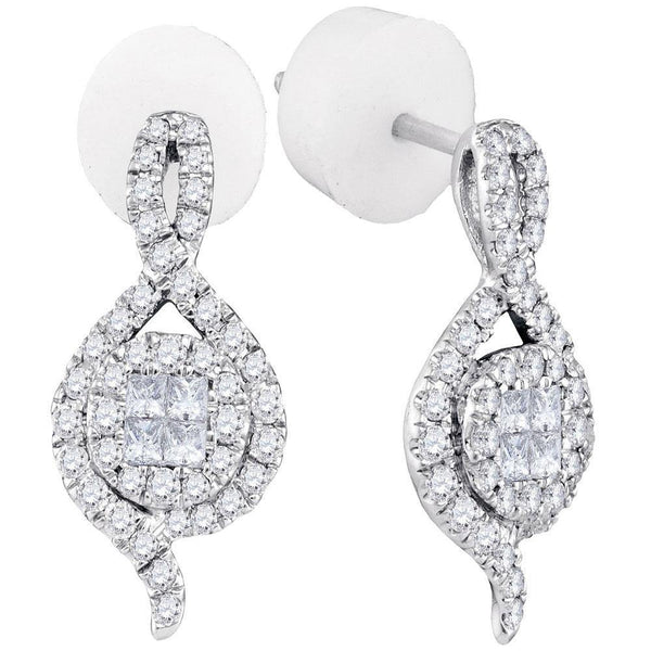 14K White Gold Princess Round Diamond Soleil Spade Cluster Earrings 1/2 Cttw - Gold Americas