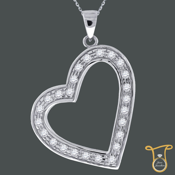 Sterling Silver Round Heart Pendant