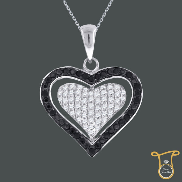 Double Heart  Sterling Silver Round Cubic Zirconia CZ Fashion Pendant, Pendants, JJ-SLV, Jawa Jewelers
