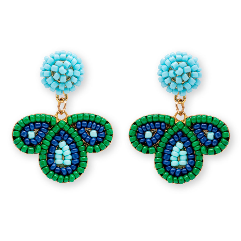 Summer Beaded Earrings - Blue/Green