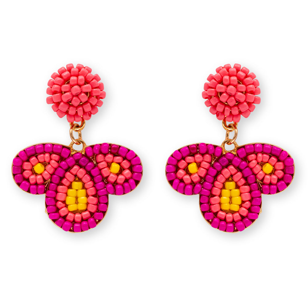 Summer Beaded Earrings - Pink/Corel