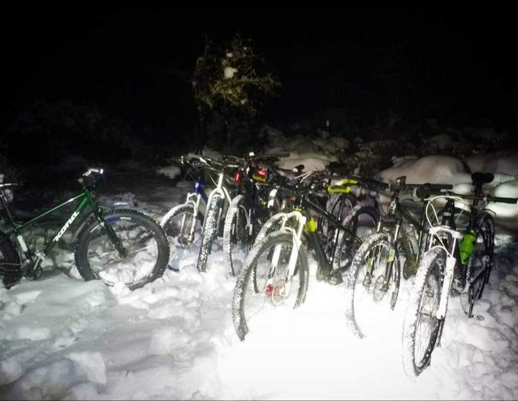 Winter night riding with friends