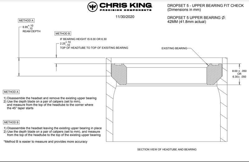 Chris King DropSet 5 - 42mm/52mm - 45/45 degree Integrated Headset For Specialized Only.