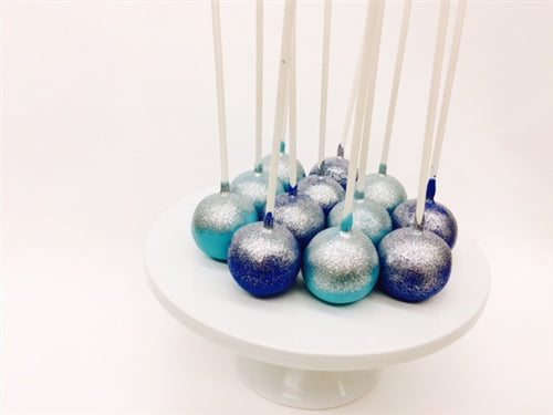 Blue, and Silver Glittered Dozen Vanilla Cake Pops