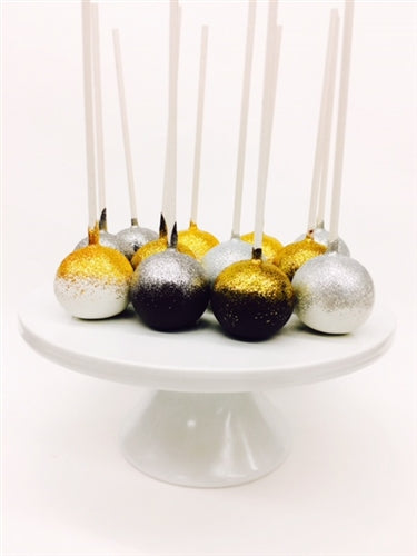 Black, White, and Gold Glittered Dozen Chocolate Cake Pops