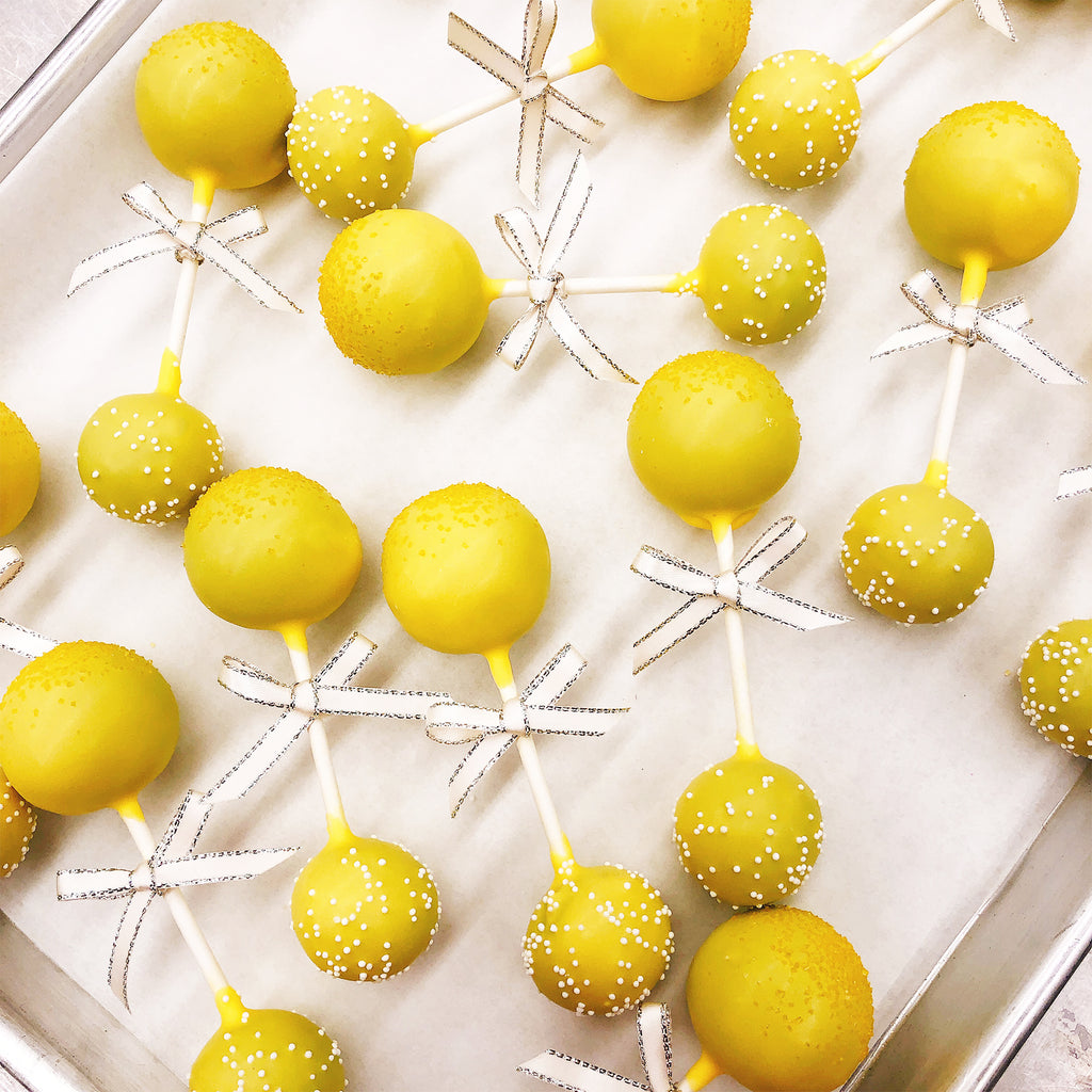 Yellow Rattle Gender Reveal Cake Pop Dozen