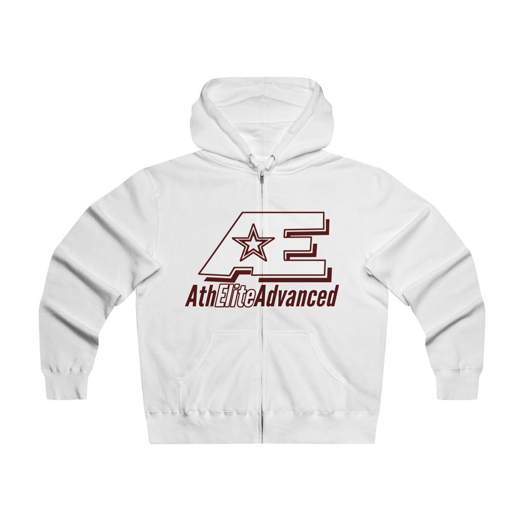 """Scarlet & White""  AthElite Advanced AE Logo  Men's Lightweight Zip Hooded Sweatshirt"