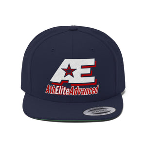 Red And White AthElite Advanced Logo Unisex Flat Bill Hat