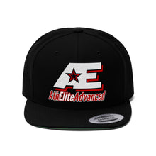 Load image into Gallery viewer, Red And White AthElite Advanced Logo Unisex Flat Bill Hat