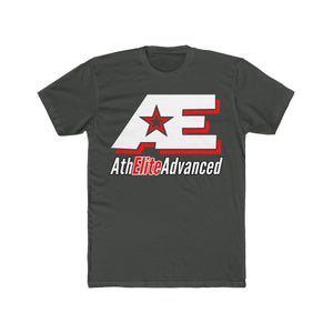 """White & Red"" AthElite Advanced AE Logo Cotton Men's Crew T-Shirt"