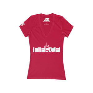 """I AM FIERCE"" Short Sleeve Deep V-Neck Tee"