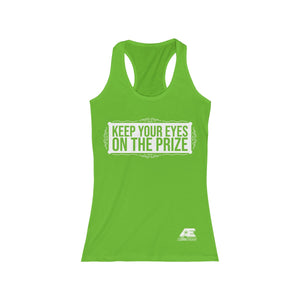 """Eyes on the Prize"" (White) Women's Racerback Tank"