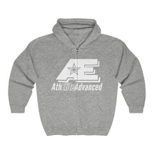 "Load image into Gallery viewer, ""Classic White""   AthElite Advanced AE Logo   Unisex Heavy Blend™ Full Zip Hooded Sweatshirt"
