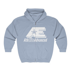 """Classic White""   AthElite Advanced AE Logo   Unisex Heavy Blend™ Full Zip Hooded Sweatshirt"