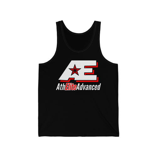 """Classic Red & White""   AthElite Advanced AE Logo   Unisex Jersey Tank"
