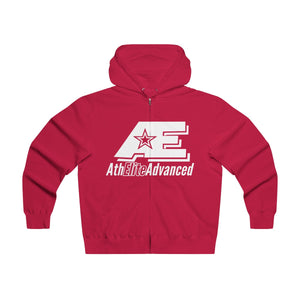 """Classic White""  AthElite Advanced AE Logo  Men's Lightweight Zip Hooded Sweatshirt"