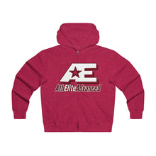"Load image into Gallery viewer, ""Scarlet & White""  AthElite Advanced AE Logo  Men's Lightweight Zip Hooded Sweatshirt"