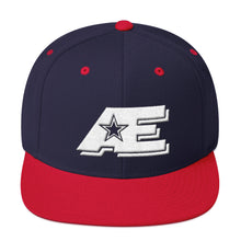 Load image into Gallery viewer, Navy & Red Snap-back Hat with White AE Advanced Logo