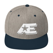 Load image into Gallery viewer, Heather Gray & Navy Snap-back Hat with White AE Advanced Logo