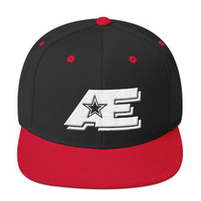 Load image into Gallery viewer, Black & Red Snap-back Hat with White AE Advanced Logo