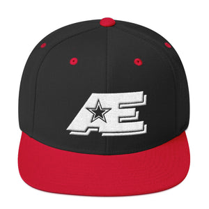 Black & Red Snap-back Hat with White AE Advanced Logo