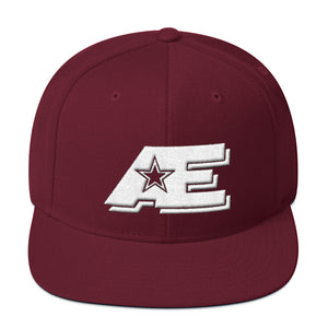 Maroon Snap-back Hat with White AE Advanced Logo