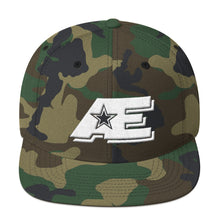 Load image into Gallery viewer, Green Camo Snap-back Hat with White AE Advanced Logo