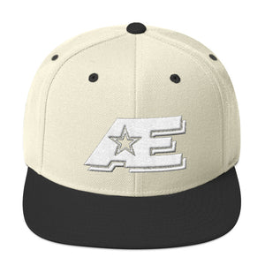 Natural & Black Snap-back Hat with White AE Advanced Logo