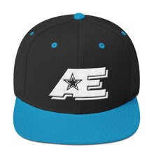 Load image into Gallery viewer, Black & Teal Snap-back Hat with White AE Advanced Logo