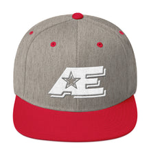 Load image into Gallery viewer, Heather Gray & Red Snap-back Hat with White AE Advanced Logo