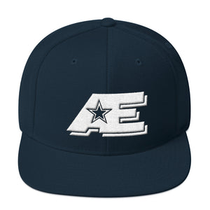 Dark Navy Blue Snap-back Hat with White AE Advanced Logo