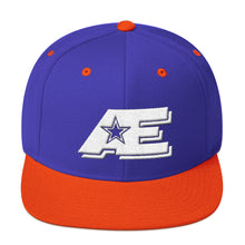 Load image into Gallery viewer, Royal Blue & Orange Snap-back Hat with White AE Advanced Logo