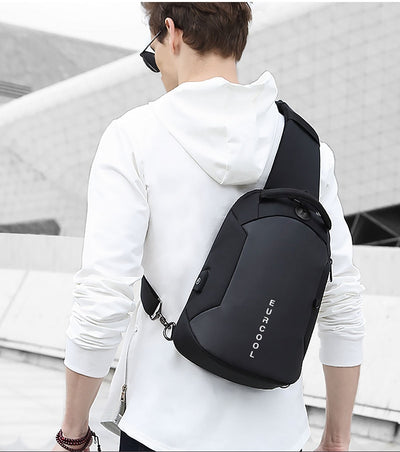 men multifunction crossbody bags USB charging chest pack short trip