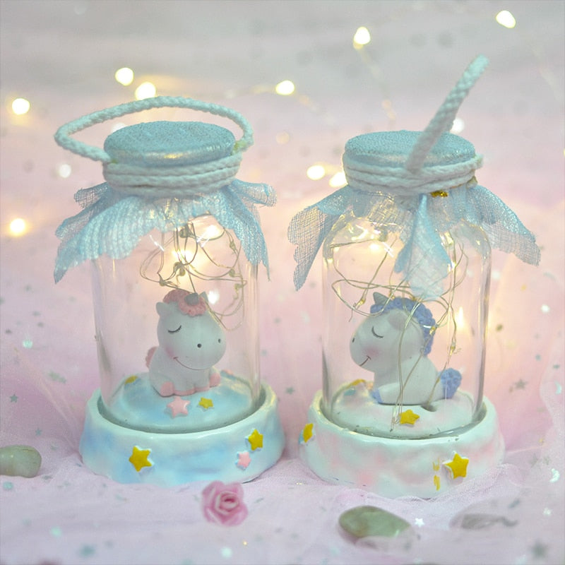 LED resin Unicorn wishing bottle night light heart dream decoration