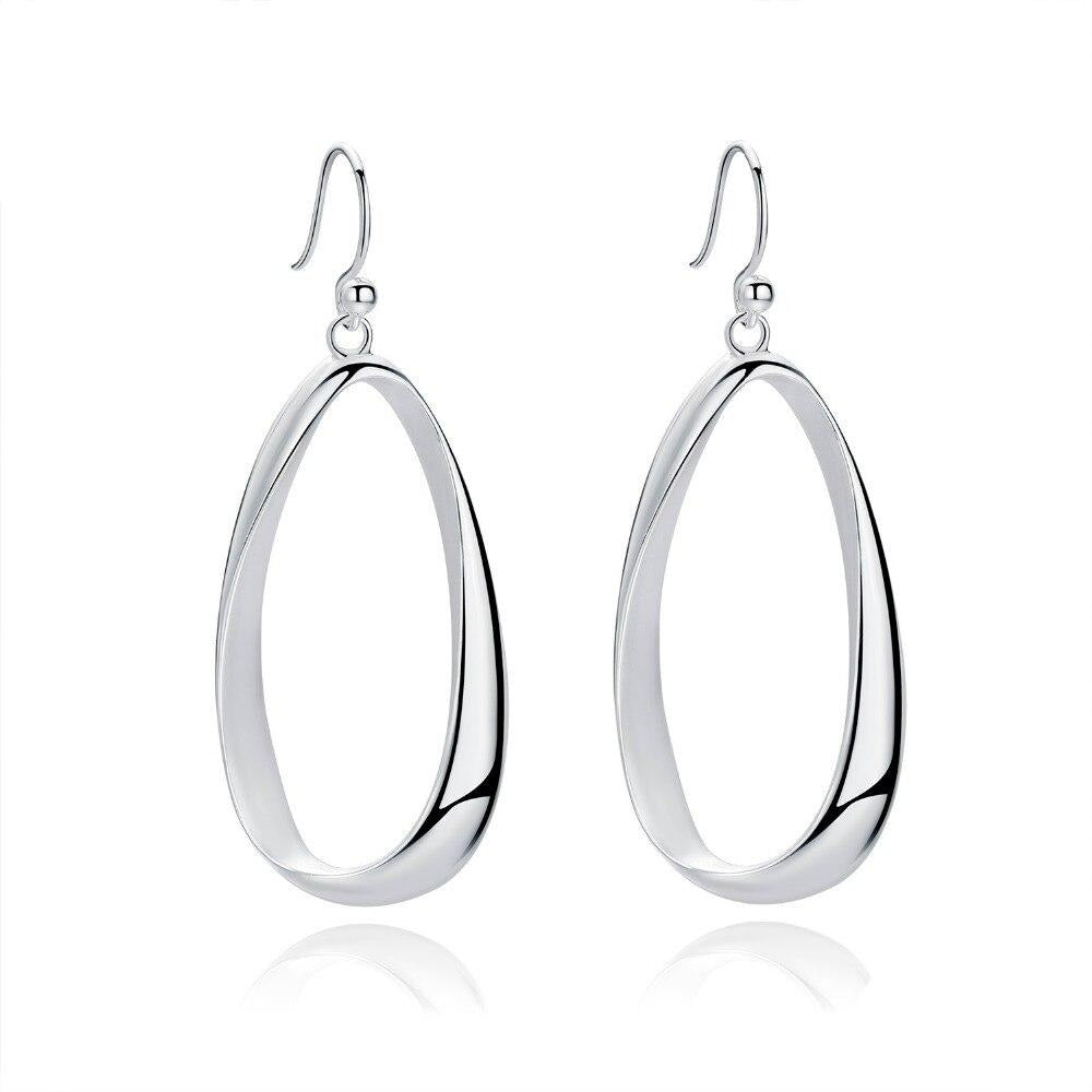 big long real silver  drop earrings