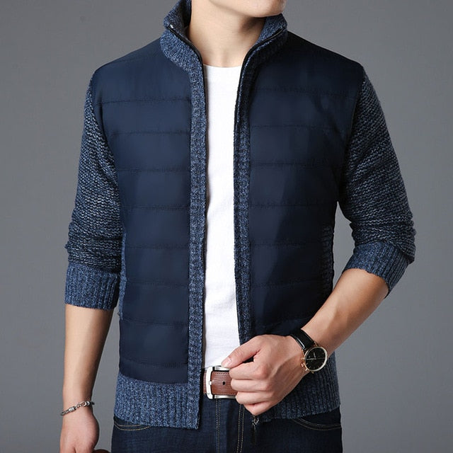 Fashion brand Sweaters Mens Cardigan Thick Slim Fit Jumpers Knitwear Zipper Warm Winter Korean Style Casual