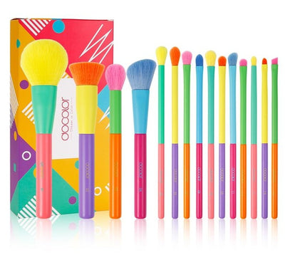 15 pcs makeup brush professional powder foundation eyeshadow colorful makeup brush set synthetic hair soft