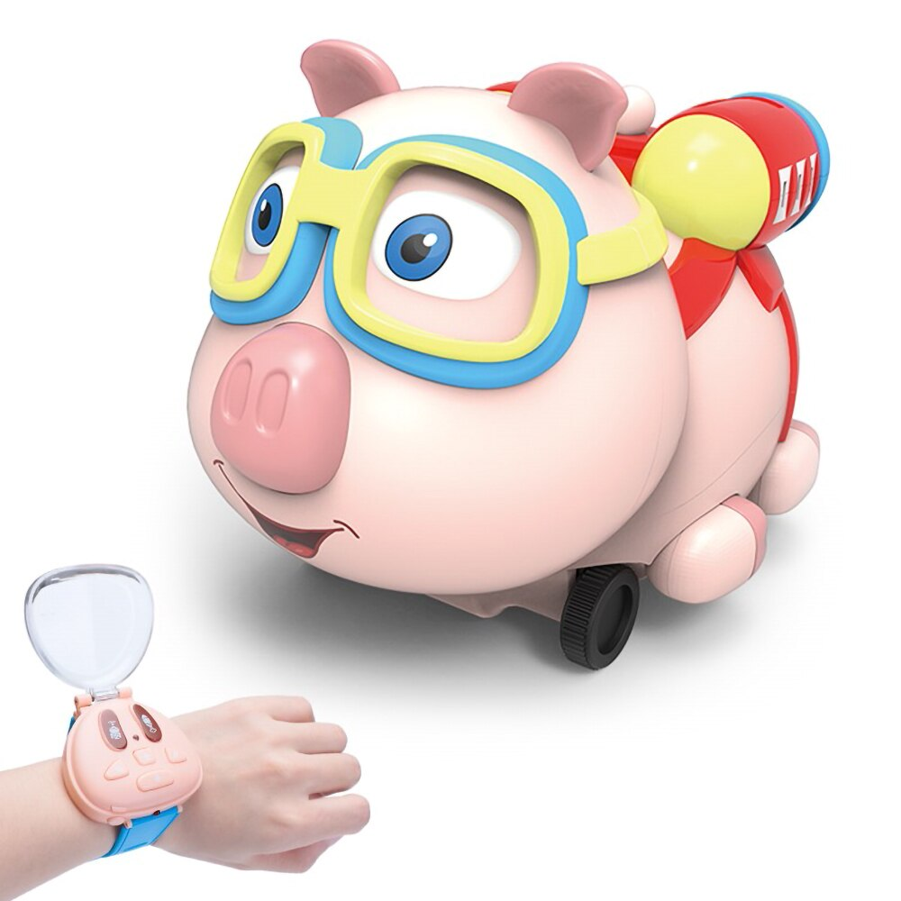 pig cartoon mini spray remote watch RC car toy