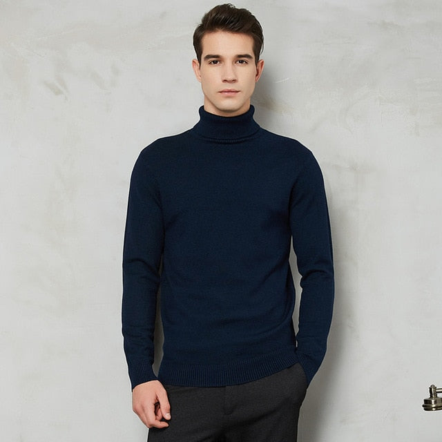 Men Turtleneck Sweater Autumn Winter Thick Warm Slim Fit long Sleep Solid Color Pullover Sweater