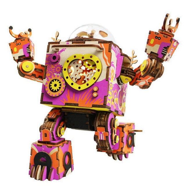 colorful wooden puzzle robot construction model