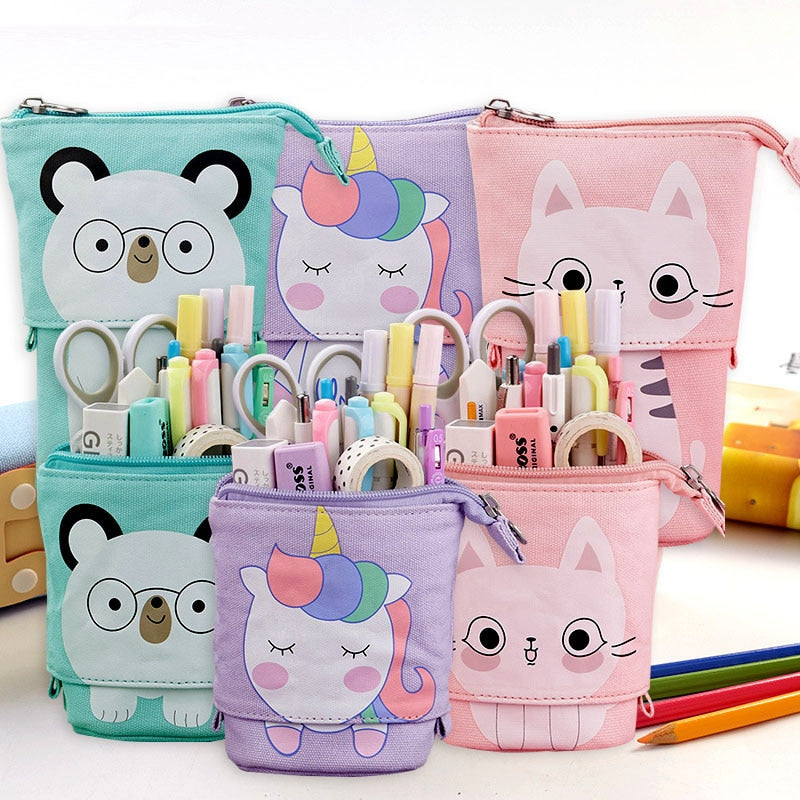 Kawaii Unicorn cat bear case standing pop up canvas stationery case pen pouch supplies