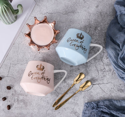 personalized crown lid coffee mug with spoon multicolor cup x-mas gift