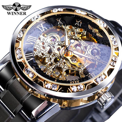 Winner Transparent Fashion Diamond Display Luminous Hands Gear Movement Retro Royal Design Men Mechanical Skeleton Wrist Watches