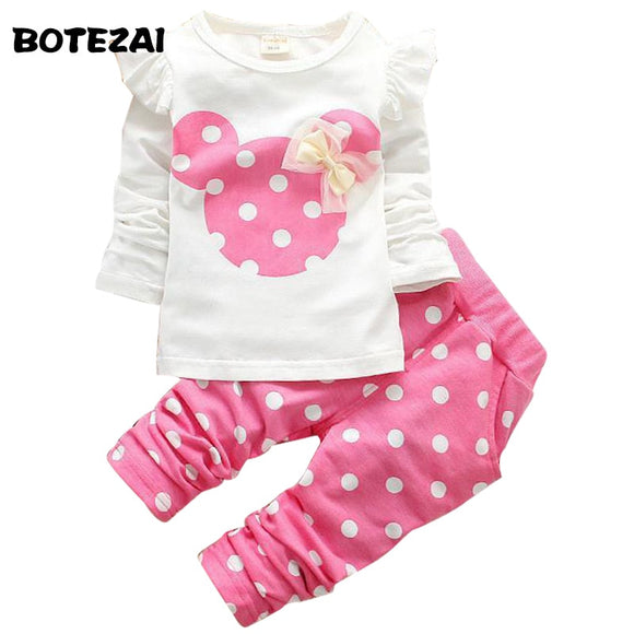 08667e67796bf new fashion girls clothing sets minnie cotton children clothes bow tops t  shirt + leggings baby