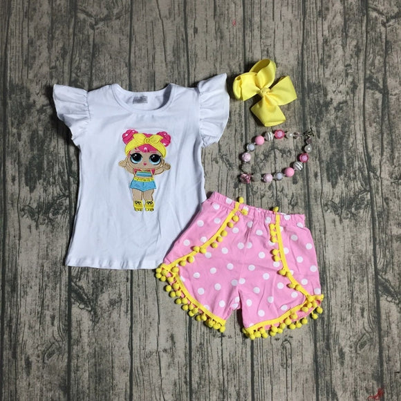 67812d071a1 new summer baby girls children clothes outfits sets boutique white top pink  shorts yellow pom-