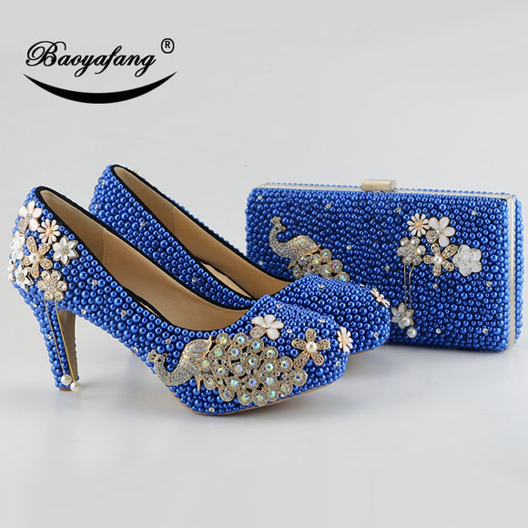 f3cff8f6797 New Royal Blue pearl Women wedding shoes with matching bags bride High heels  platform shoes Peacock