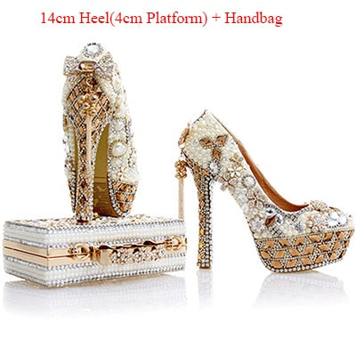 Pumps Women Shoes and Bags to Matching Wedding Pearl Crystal Purse Platform  Bridal Shoes High Heels 9fa1d6106832