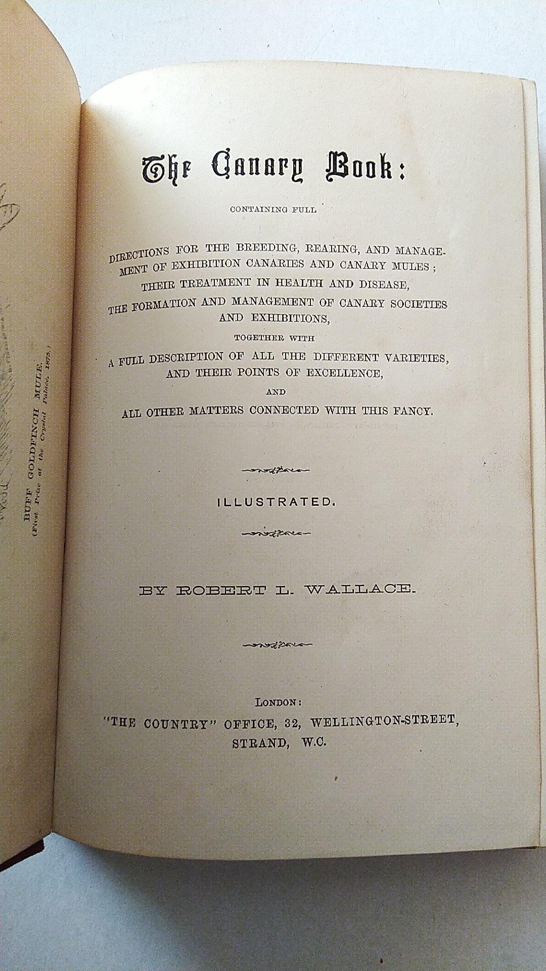 The Canary Book by R. Wallace First Edition 1875
